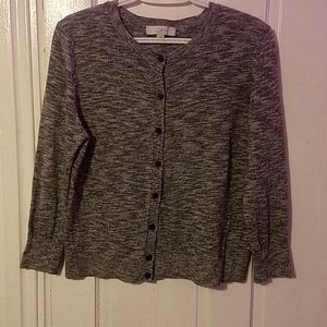 L Black & White Ann Taylor Loft Cardigan Sweater